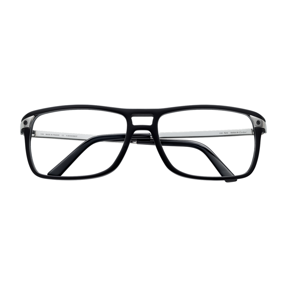 80ce4dc03c0 Black composite optical glasses with brushed platinum finish and black PVD  and smooth platinum-finish